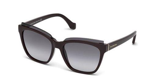 Balenciaga BA0093 69B shiny bordeaux / gradient smoke Sunglasses