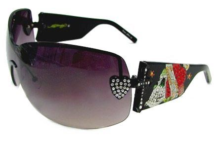 Ed Hardy Ehs 023 Zeke With Swarovski Crystals Black Grey Black  sunglasses