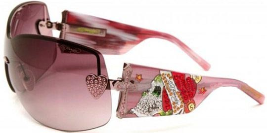 Ed Hardy Ehs 023 Zeke With Swarovski Crystals Pink Sapphire With Pink Gradient Lens sunglasses
