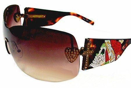 Ed Hardy Ehs 023 Zeke With Swarovski Crystals Tortoise Brown Tortoise sunglasses