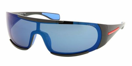 Prada Sport PS 03MS 1AB9P1 Black Blue Mirror sunglasses
