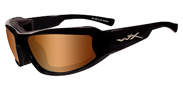 Wiley X Jake CCJAK07 Bronze Flash (crimson Brown)/GlossBlack sunglasses